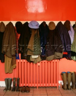 PE0003_Red_Hallway_with_coats_and_hats_and_boots_with_radiator